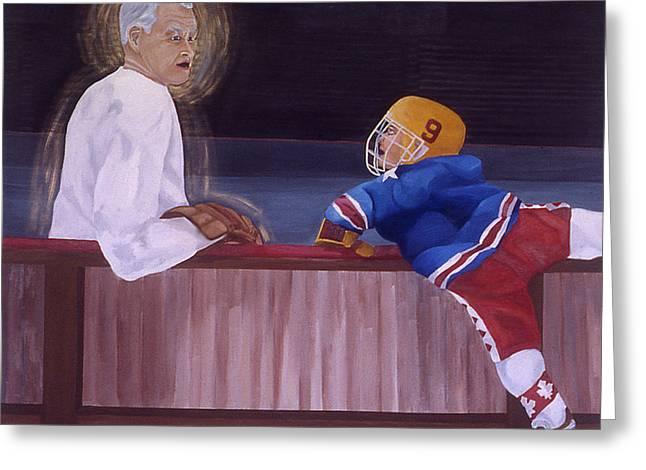 Hockey Paintings Greeting Cards - Hockey God Greeting Card by Ken  Yackel