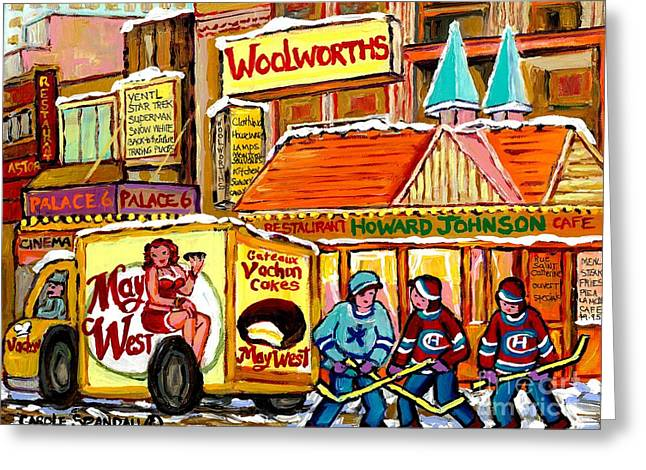 Hockey Game At Howard Johnson's Downtown Montreal Winter City Scene Montreal Memories Canadian Art  Greeting Card