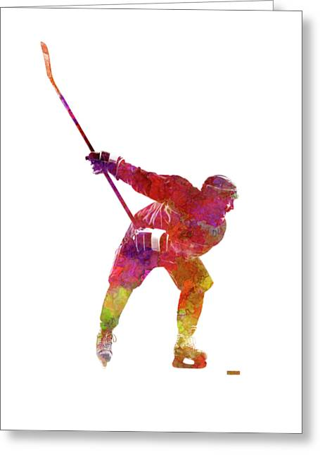 Hockey Man Player 02 In Watercolor Greeting Card by Pablo Romero