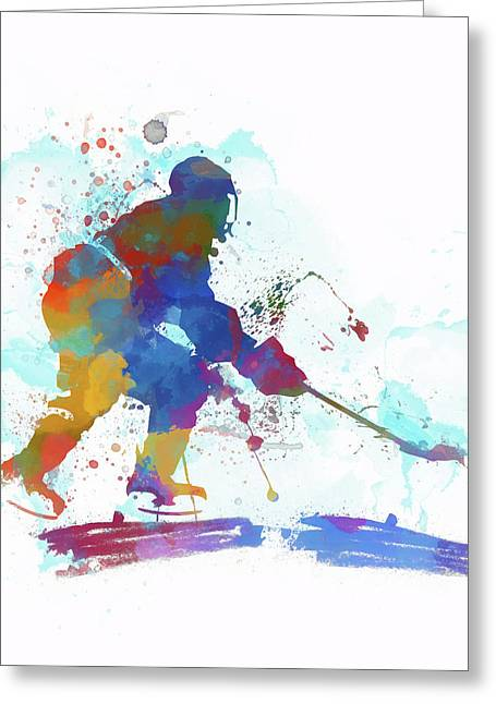 Hockey Player Paint Splatter Greeting Card by Dan Sproul