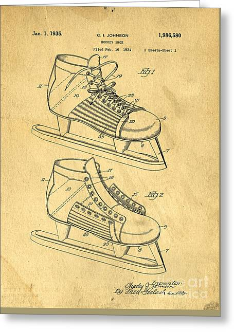 Hockey Skates Patent Art Blueprint Drawing Greeting Card by Edward Fielding