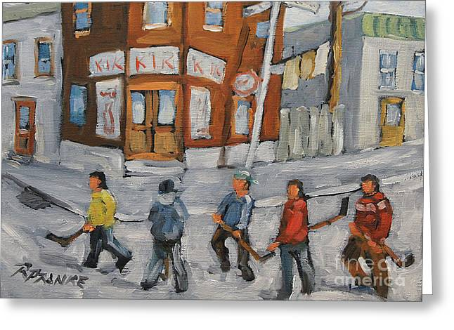 Hockey Town Montreal Created By Prankearts Greeting Card by Richard T Pranke