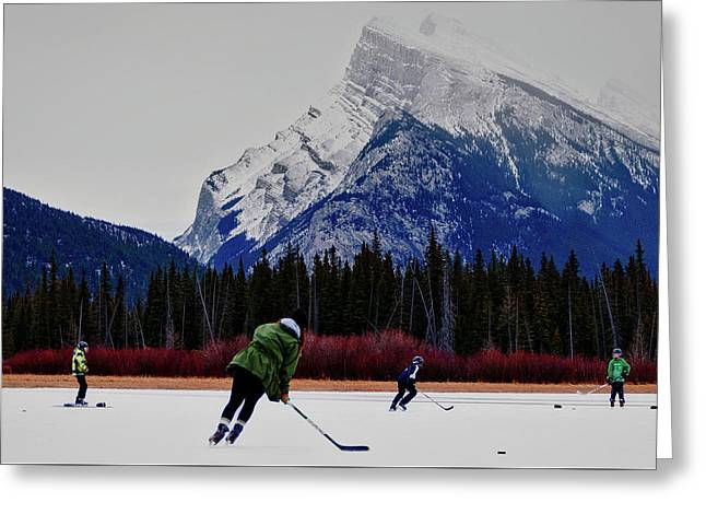 Hockey Under The Mountains Greeting Card by Priscilla Westra