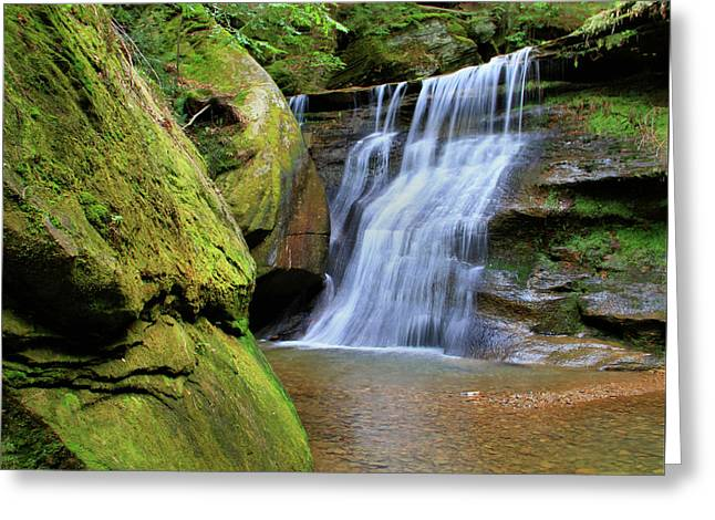 Hocking Hills Hidden Falls In Spring Greeting Card by Dan Sproul