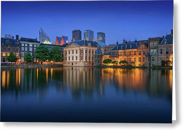 Hofvijver Blue Hour Greeting Card by Martin Podt