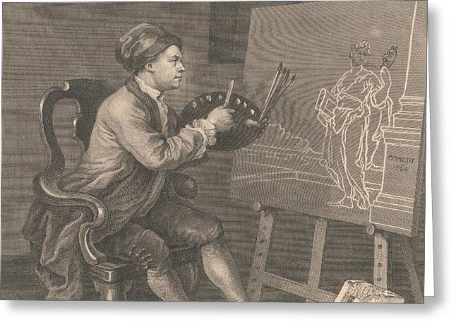 Hogarth Painting The Comic Muse Greeting Card
