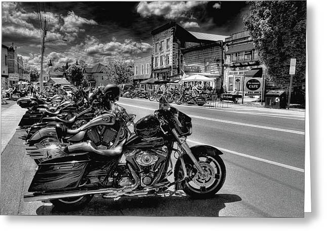 Hogs On Main Street Greeting Card by David Patterson