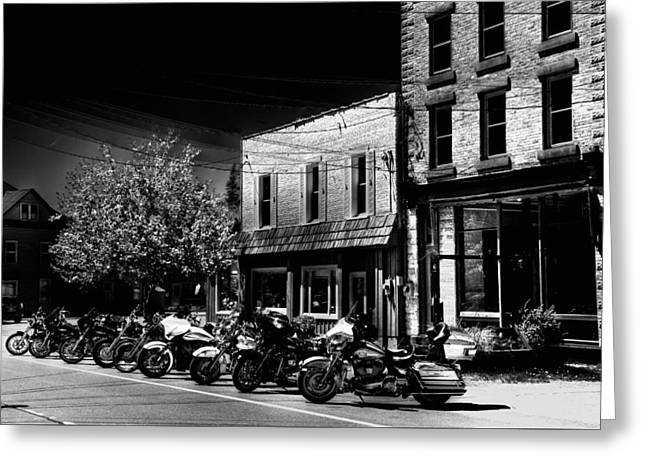 Hogs On Main Street - Old Forge Greeting Card by David Patterson