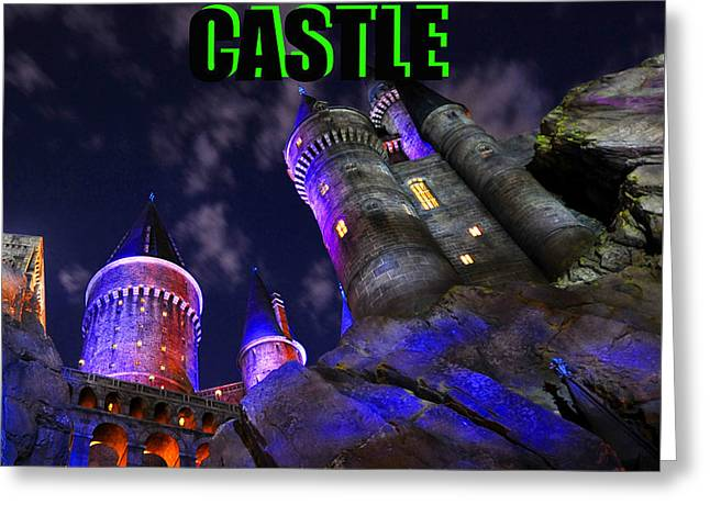 Hogsmeade Castle Poster Green Greeting Card by David Lee Thompson