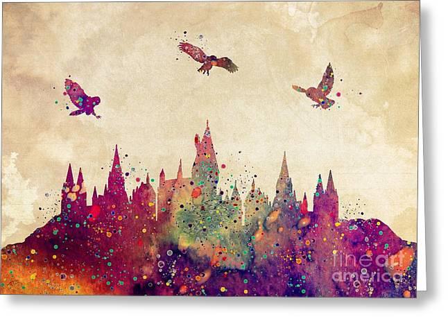 Hogwarts Castle Watercolor Art Print Greeting Card