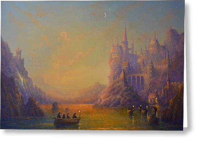 Hogwarts Castle Greeting Card by Joe Gilronan