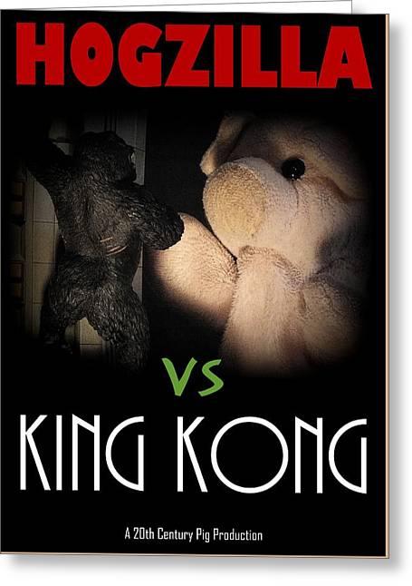Hogzilla Vs King Kong Greeting Card by Piggy