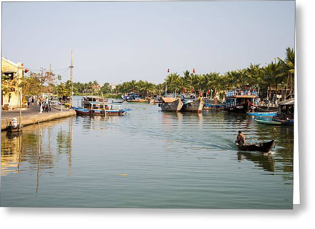 Hoi An River Greeting Card by Rob Hemphill