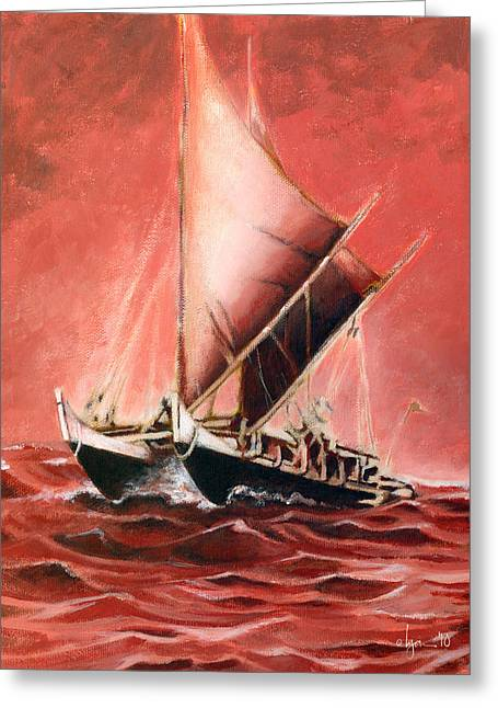 Hokulea Greeting Card by Angela Treat Lyon