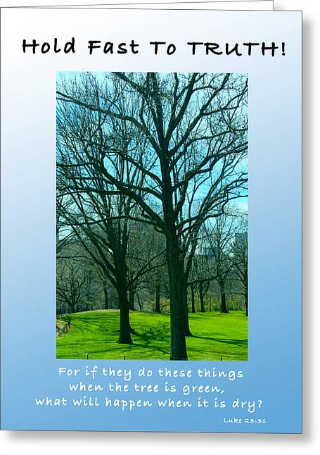 Fineartamerica Greeting Cards - Hold Fast To TRUTH Greeting Card by Terry Wallace