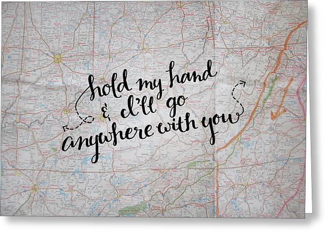 Hold My Hand Map Pillow Greeting Card by Michelle Eshleman