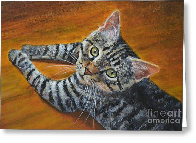 Holding Down The Floor Greeting Card by Jana Baker