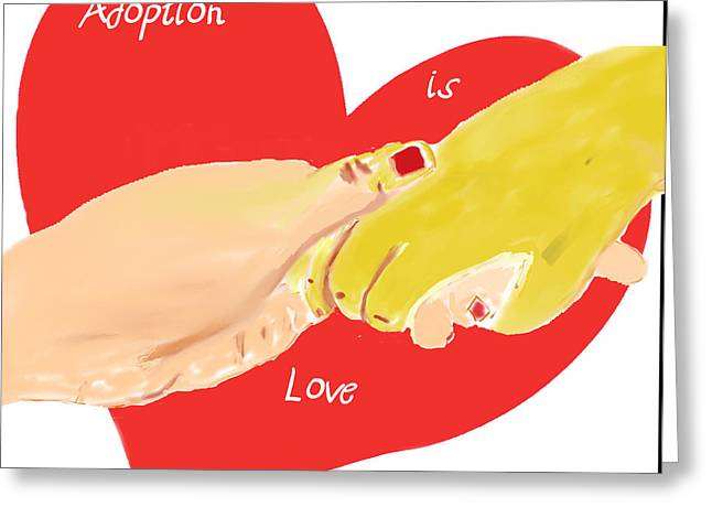 Greeting Card featuring the digital art Holding Hands by Barbara Giordano