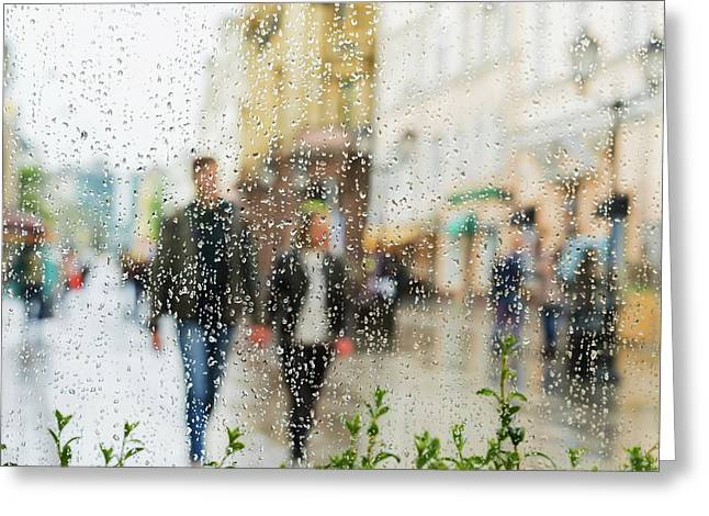 Holding Hands In The Rain Greeting Card