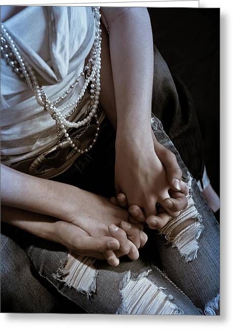 Holding Hands Greeting Card by Scott Sawyer