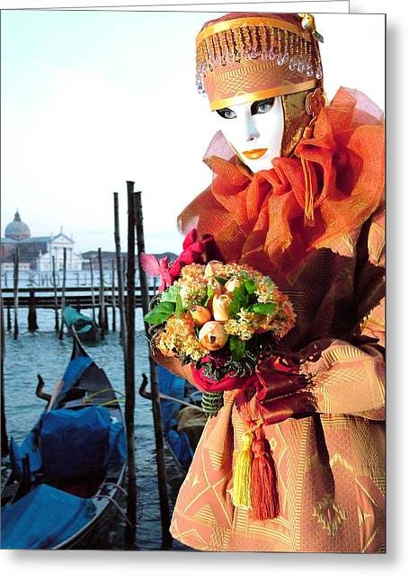 Holding Orange Bouquet Greeting Card by Donna Corless