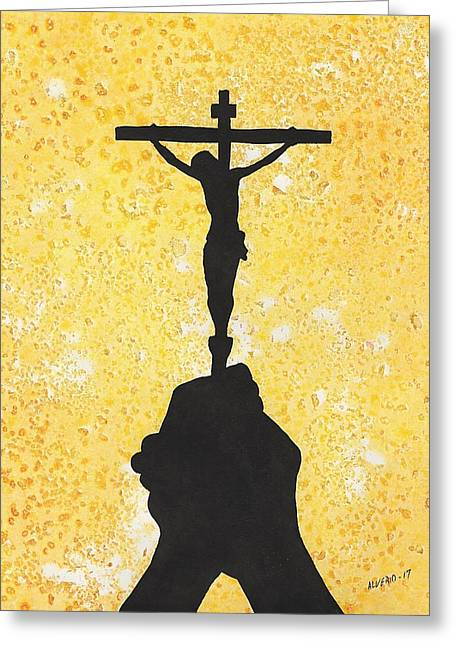 Holding The Holy Cross Greeting Card by Edwin Alverio
