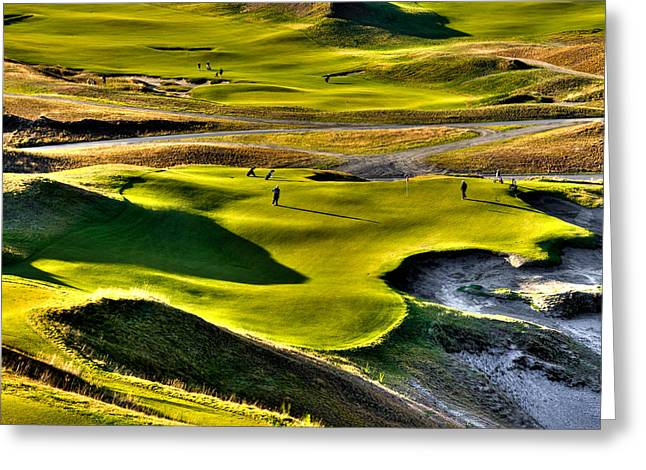 Hole #9 At Chambers Bay Greeting Card by David Patterson