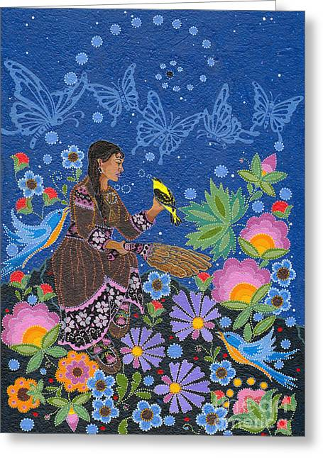 Greeting Card featuring the painting Hole In The Sky's Daughter by Chholing Taha