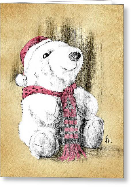 Greeting Card featuring the drawing Holiday Bear Card by Joe Winkler
