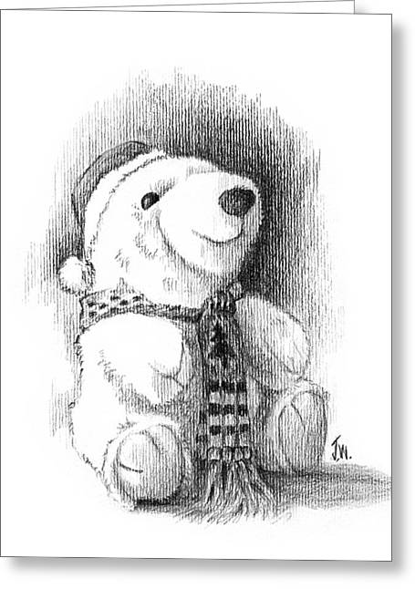 Greeting Card featuring the drawing Holiday Bear by Joe Winkler