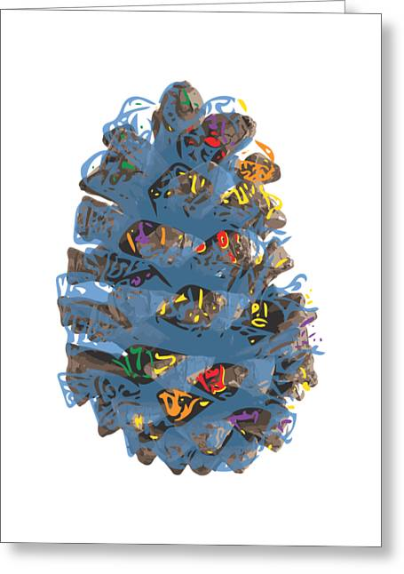 Holiday Blue Cone Greeting Card by Stan  Magnan