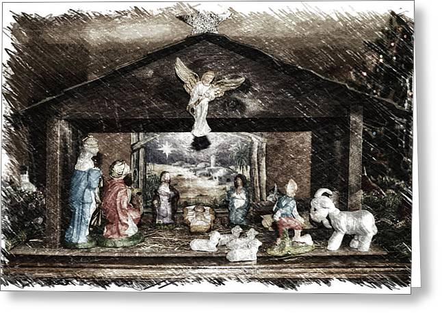 Holiday Christmas Manger Pa 01 Greeting Card by Thomas Woolworth
