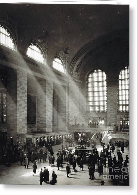 Holiday Crowd At Grand Central Terminal, New York City, Circa 1920 Greeting Card by American School