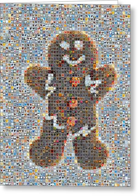 Holiday Hearts Gingerbread Man Greeting Card by Boy Sees Hearts