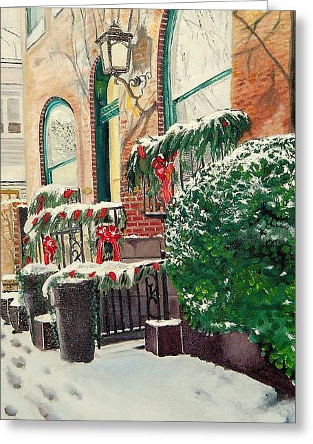 John Schuller Art Greeting Cards - Holiday in the City Greeting Card by John Schuller