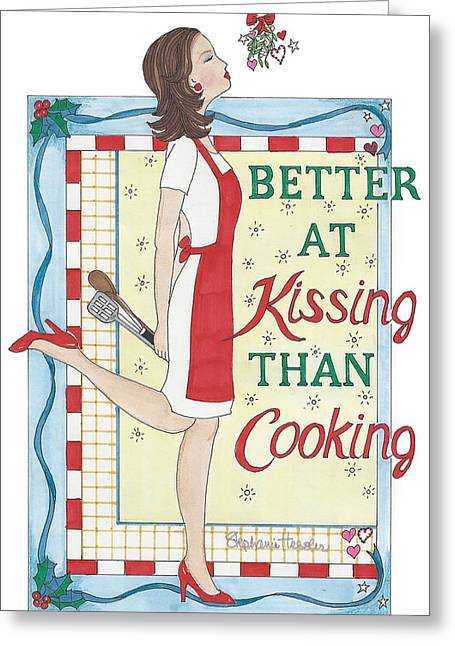 Holiday Kissing Cooking Greeting Card