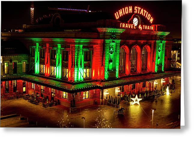 Holiday Lights At Union Station Denver Greeting Card