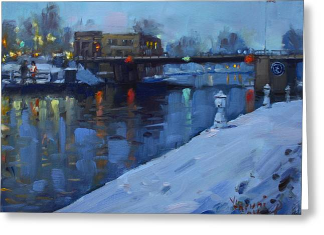 Holiday Lights In Tonawanda Canal  Greeting Card by Ylli Haruni