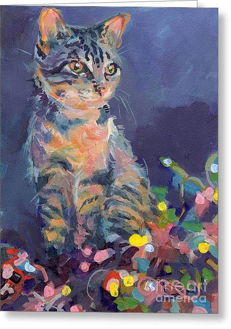 Kitten Greeting Cards - Holiday Lights Greeting Card by Kimberly Santini