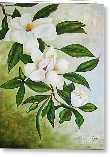 Holiday Magnolias Greeting Card by Jimmie Bartlett