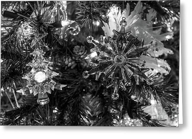 Holiday Ornaments Grayscale Greeting Card by Jennifer White
