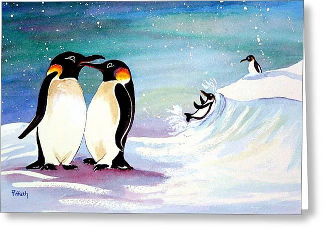 Holiday Penguins Greeting Card