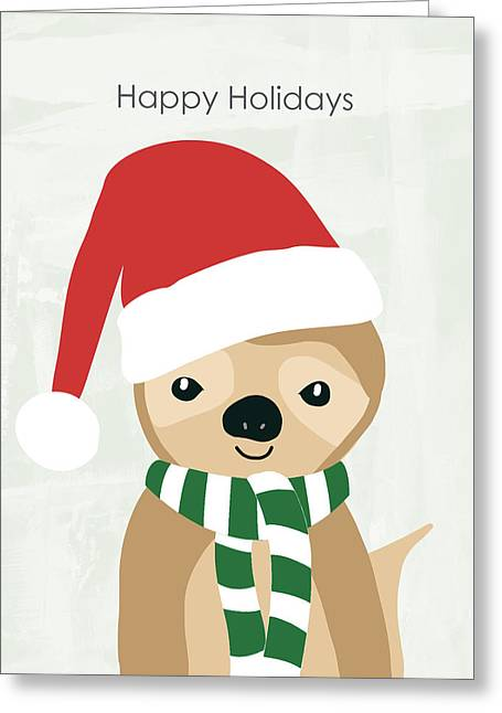 Holiday Sloth- Design By Linda Woods Greeting Card by Linda Woods