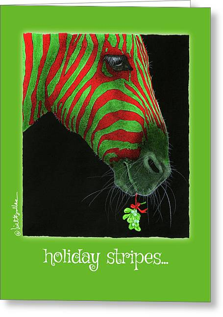 Greeting Card featuring the painting Holiday Stripes... by Will Bullas