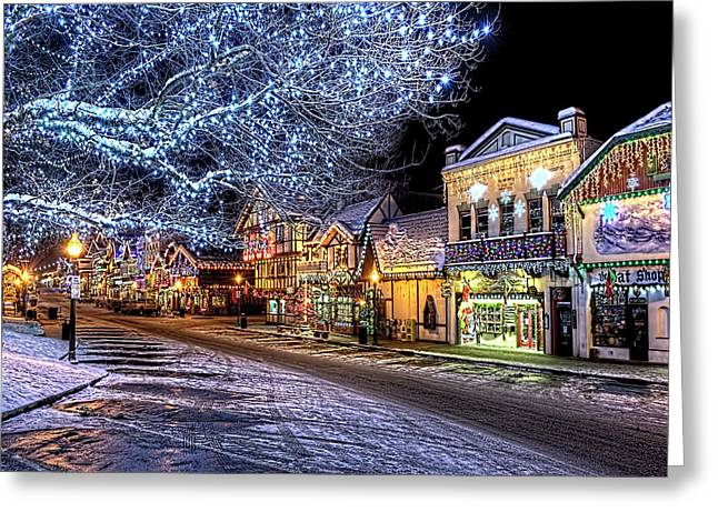 Holiday Village, Leavenworth, Wa Greeting Card by Greg Sigrist