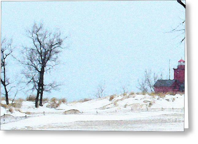 Greeting Card featuring the photograph Holland Harbor Light - View 3 by Linda Shafer