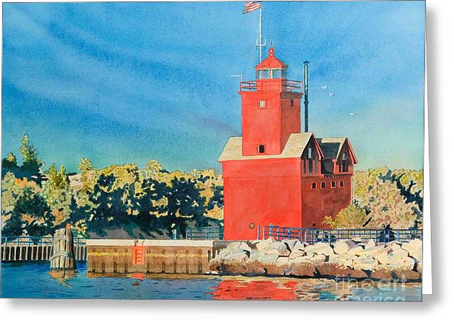 Holland Lighthouse - Big Red Greeting Card
