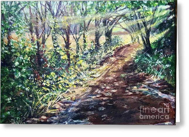 Hollis Road With Puddles Greeting Card