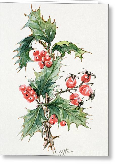 Holly And Rosehips Greeting Card by Nell Hill