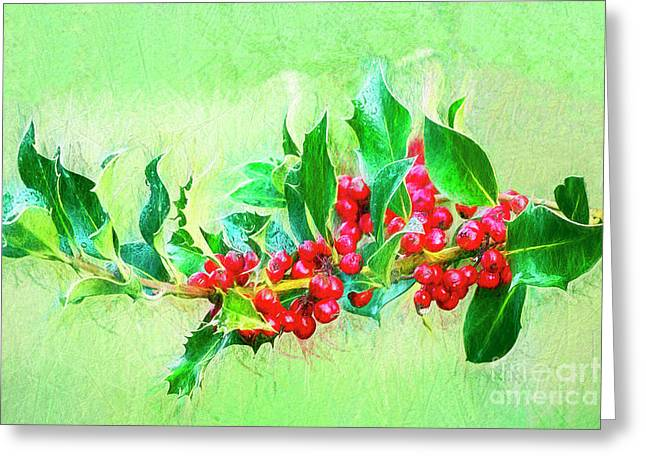 Greeting Card featuring the photograph Holly Berries Photo Art by Sharon Talson